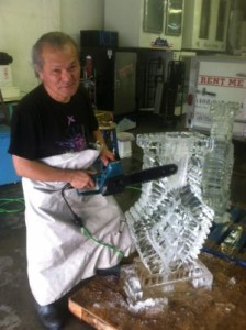 Expert Making an Ice Sculpture